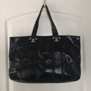Tory Burch shoulder bag Soft leather black patent.